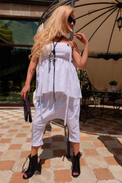 Панталон -потур от бял лен